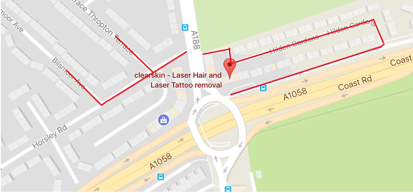 map  showing parking available at Clearkin Newcastle Laser Hair Removal